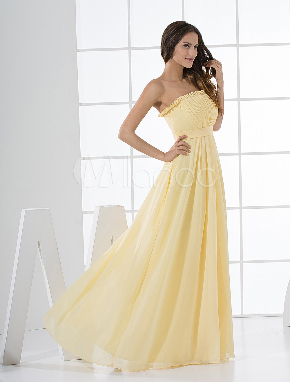 Daffodil Chiffon A-line Strapless Floor Length Bridesmaid Dress