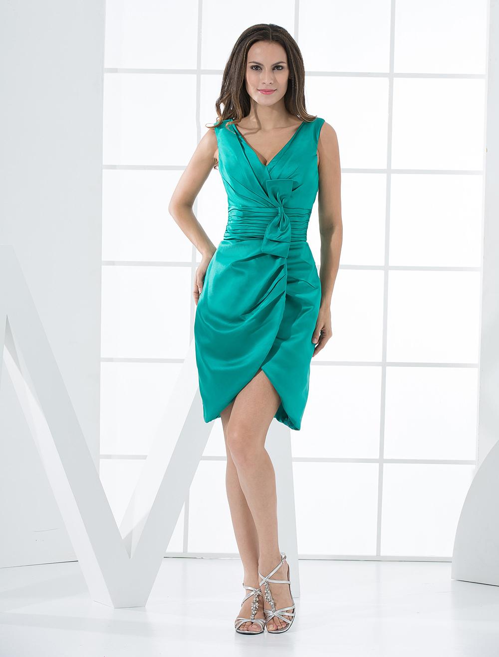 Blue Green Cocktail Dress Sheath V Neck Bow Satin Ruched Short Prom Dress