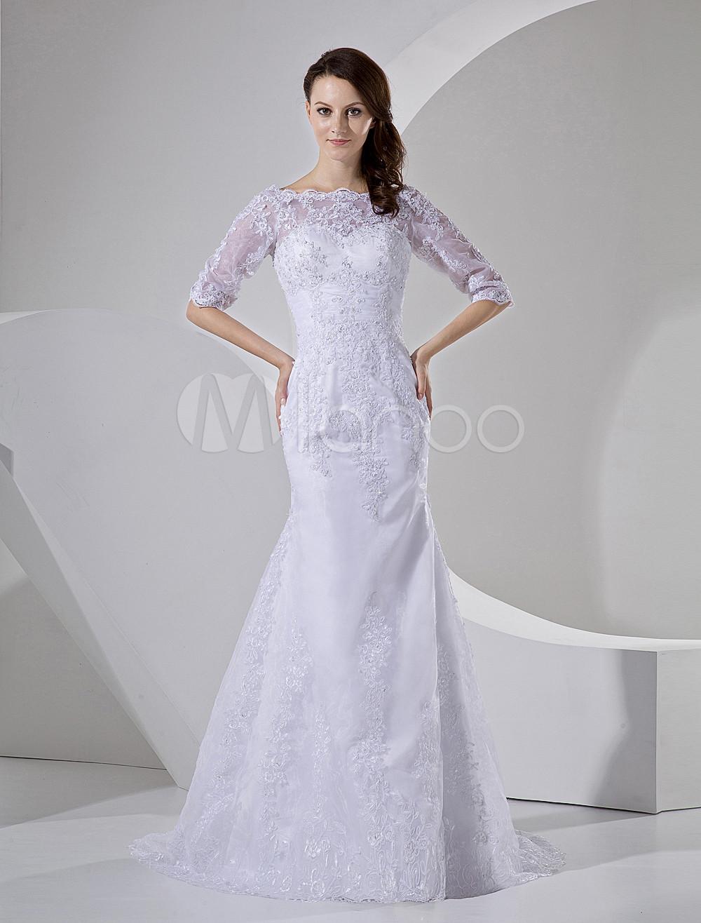 Sweep White Bride's Mermaid Wedding Dress with Bateau Neck Beading