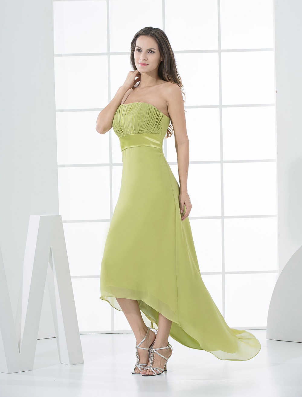 Strapless Daffodil Chiffon High-Low Bridesmaid Dress
