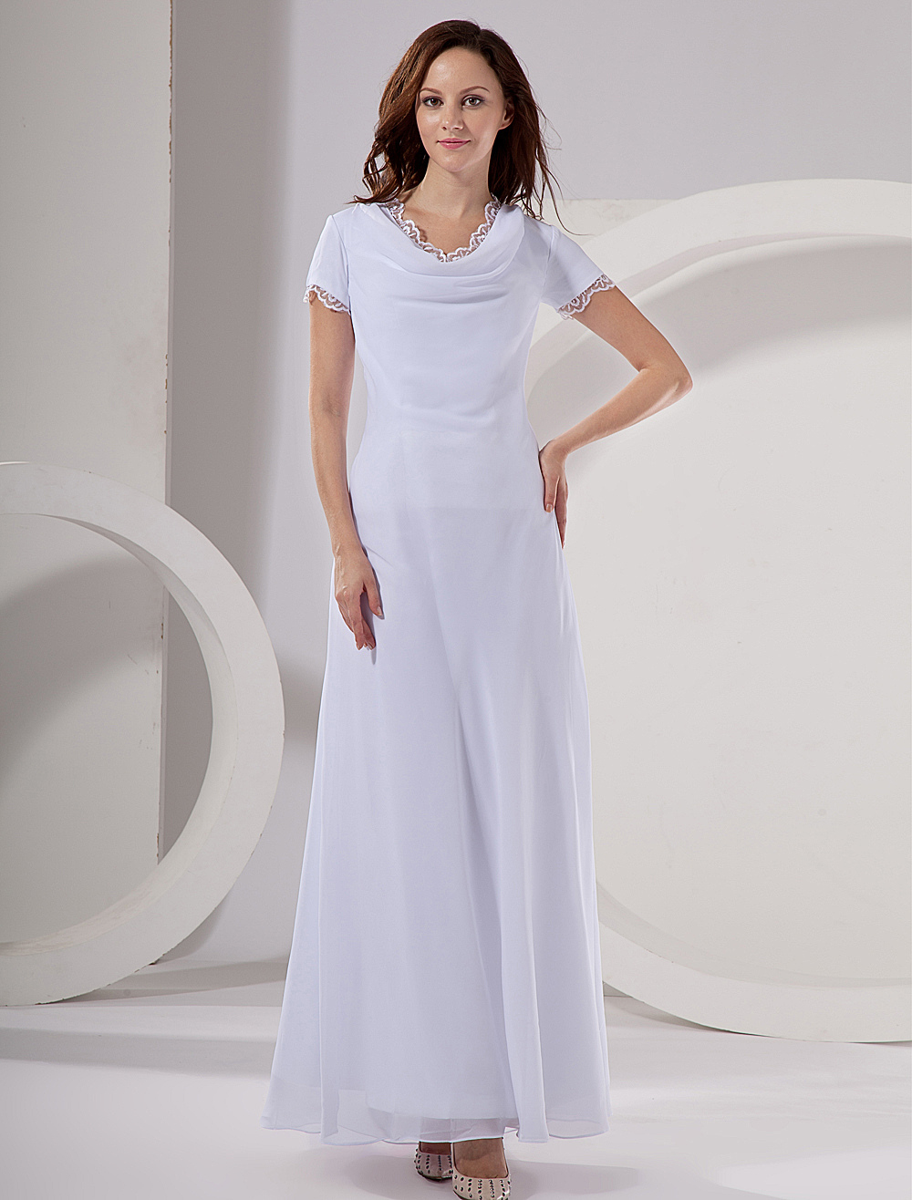 White Chiffon V-Neck Short Sleeve Ladies Evening Dress (Wedding Cheap Party Dress) photo