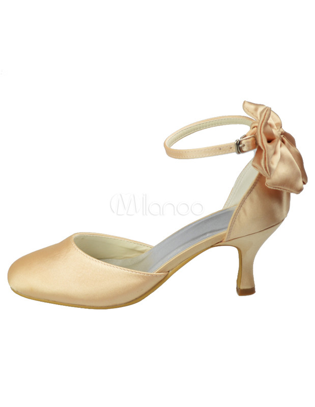 Champagne Round Toe Ankle Strap Satin Bridal Shoes
