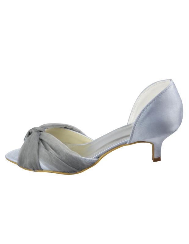Gray Peep Toe Criss-Cross Satin Wedding Sandals