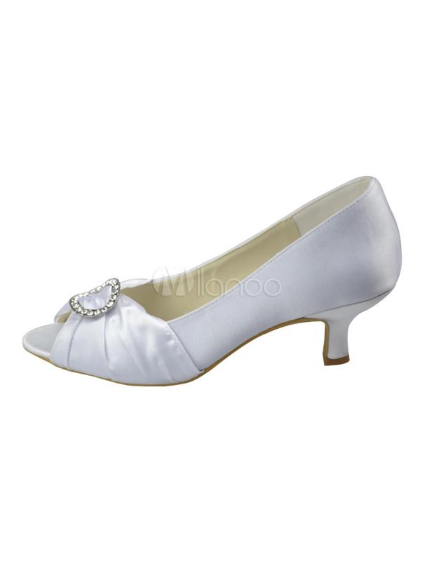 "White 2"" Heel Peep Toe Satin Wedding Shoes"
