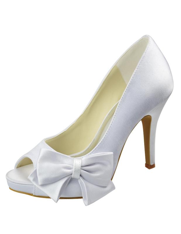 White Satin Bow Decoration Peep Toe Wedding Bridal Heels - Milanoo.com
