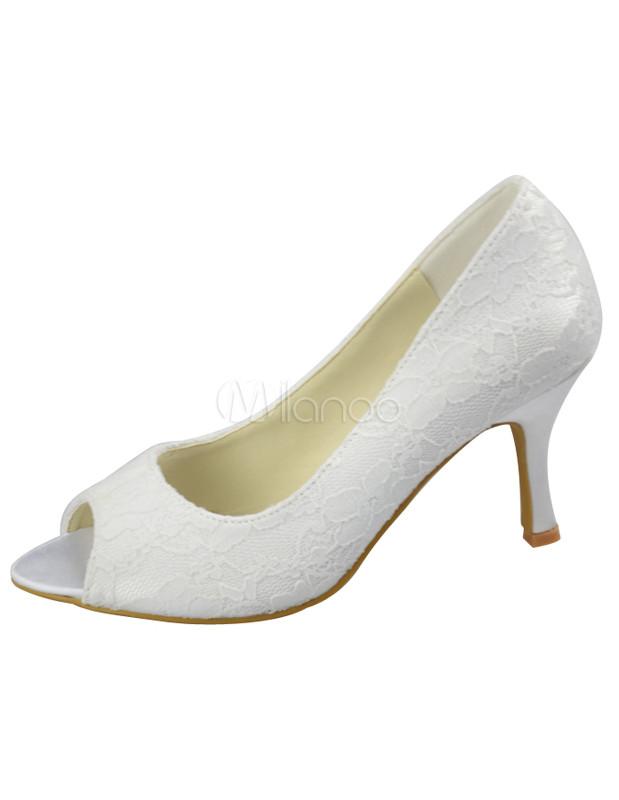Ivory Lace Peep Toe Bridal Shoes