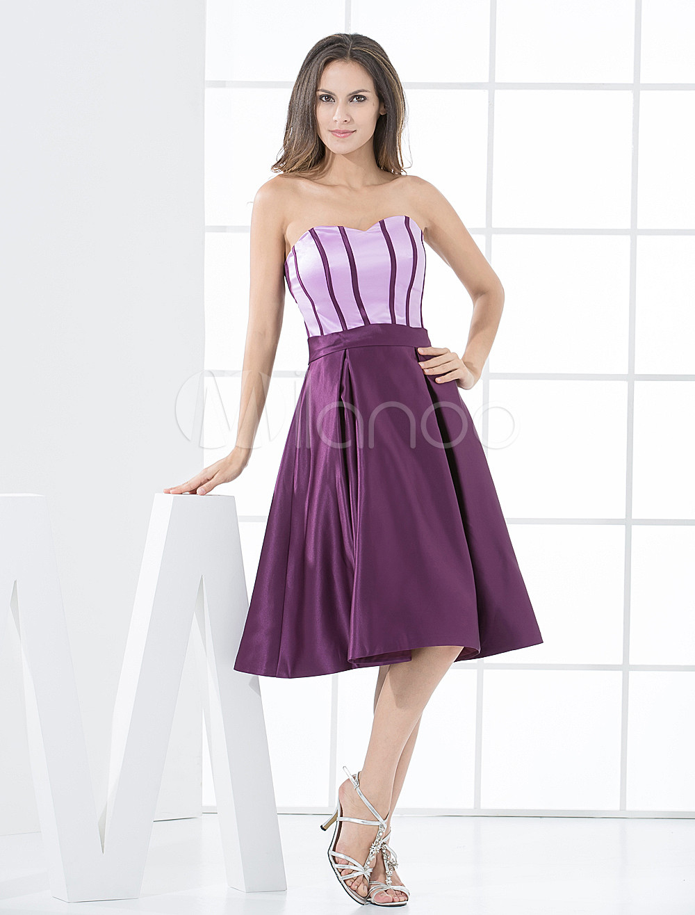 Cute Grape Satin Knee Length Bridesmaid Dress