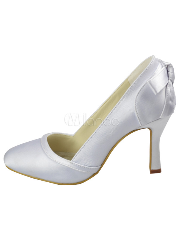 White Satin Fabric Bow Decoration Wedding Bridal Shoes