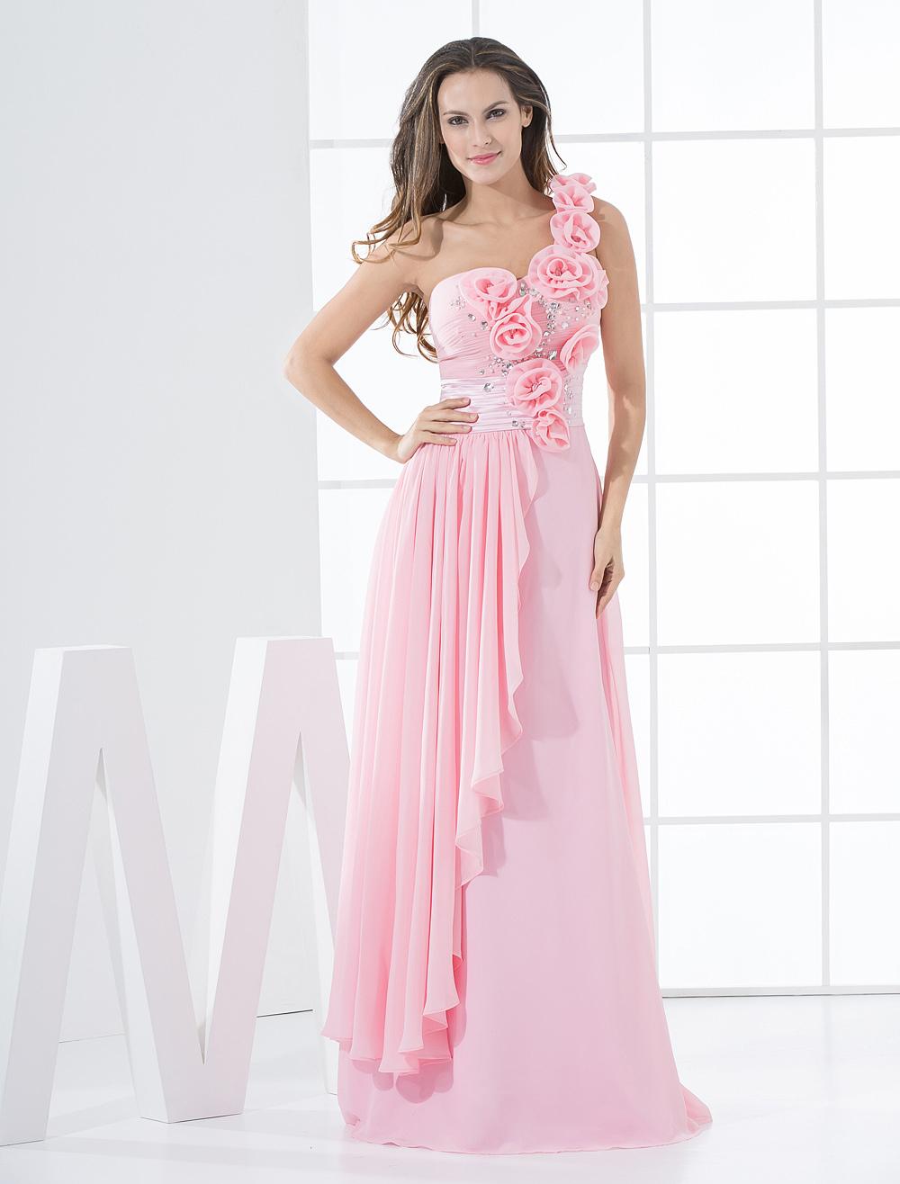 Beautiful Pink Flower One-Shoulder Chiffon Woman&-39-s Prom Dress ...