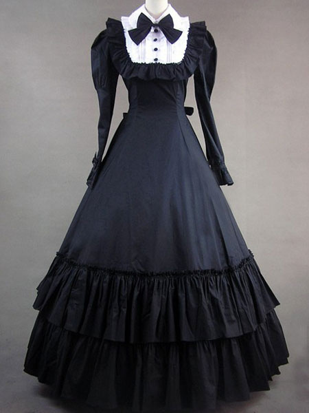 Women's Vintage Costume Victorian Black Cotton Long Sleeve Ruffle Retro Maxi Dress Halloween