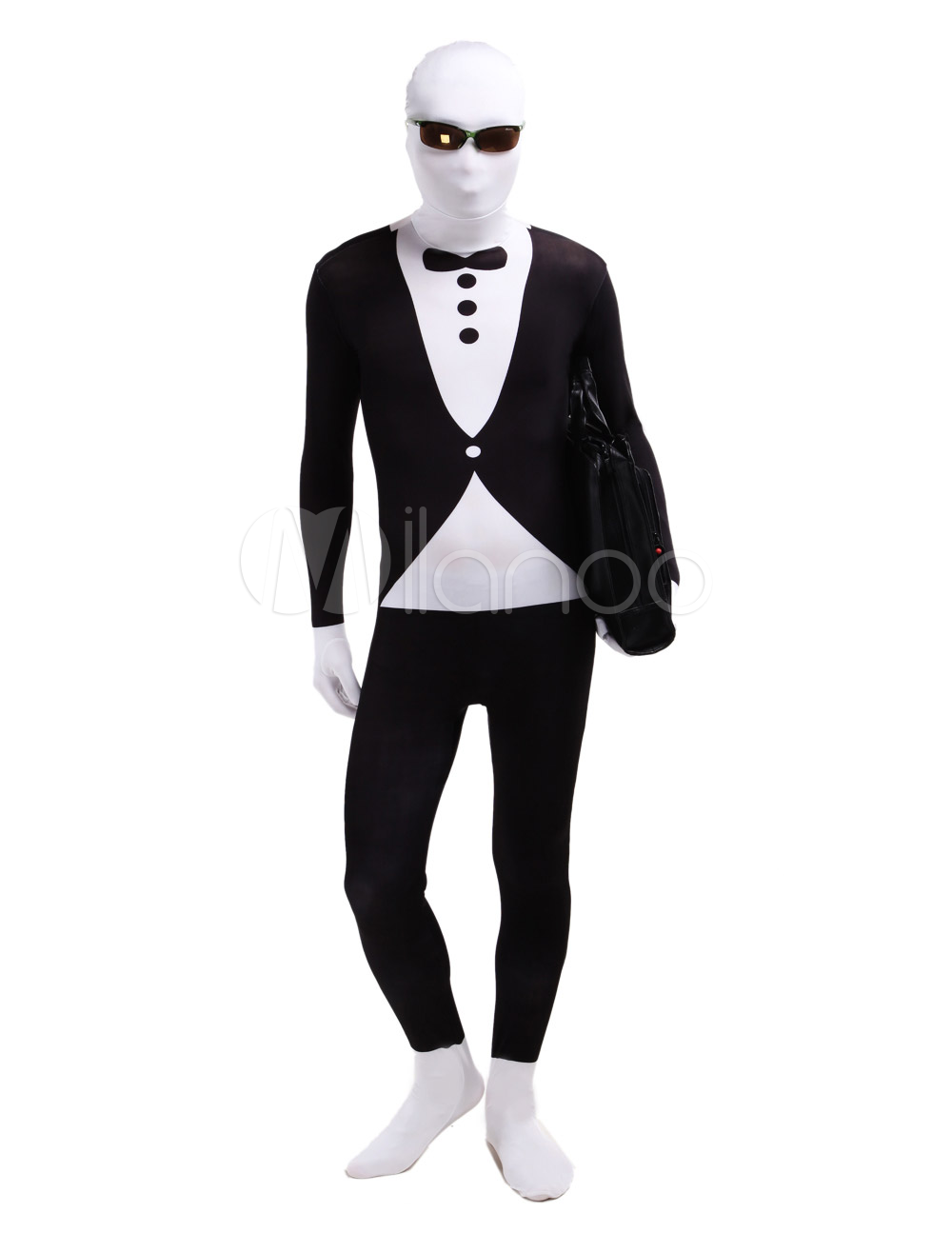 Black and White Tuxedo Lycra Spandex Zentai Morph Suit