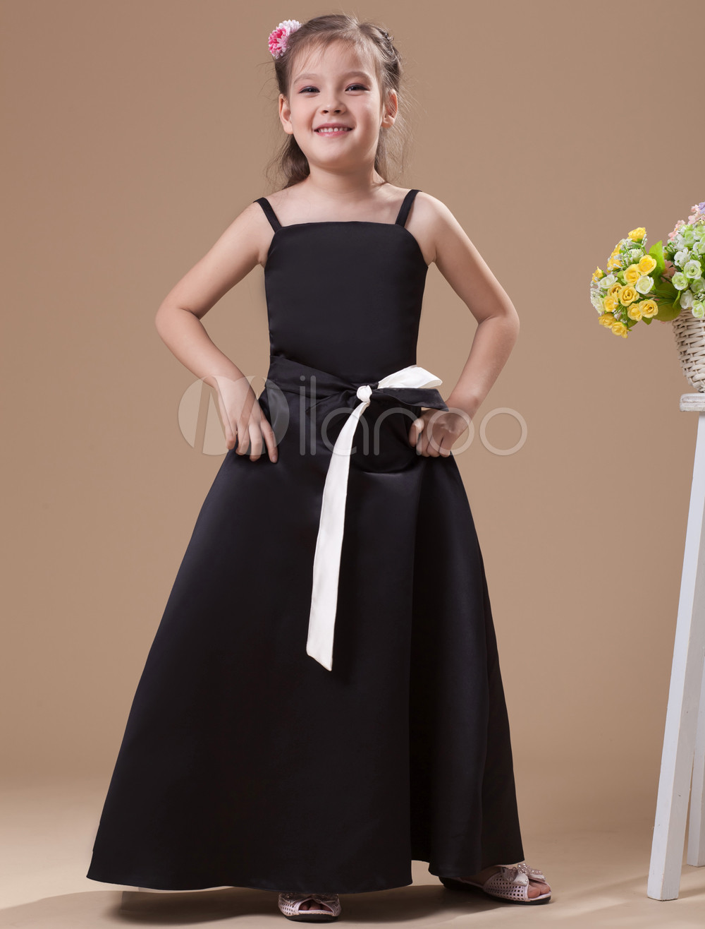 A-line Black Satin Junior Bridesmaid Dress with Sash Spaghetti Straps