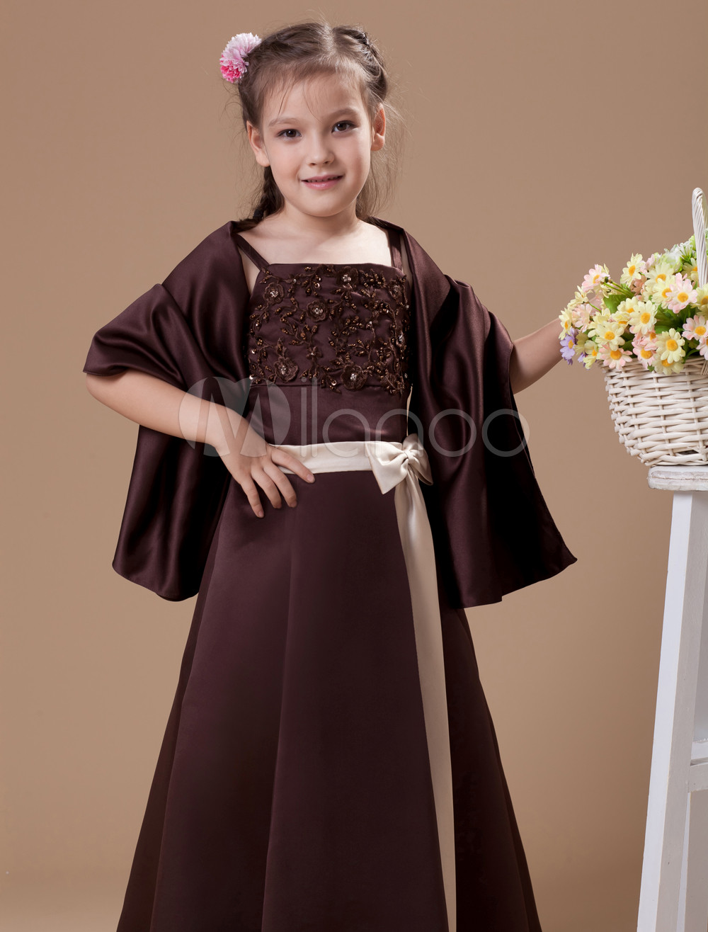 Attractive Chocolate Brown Satin Double Spaghetti Straps Floor Length Junior Bridesmaid Dress