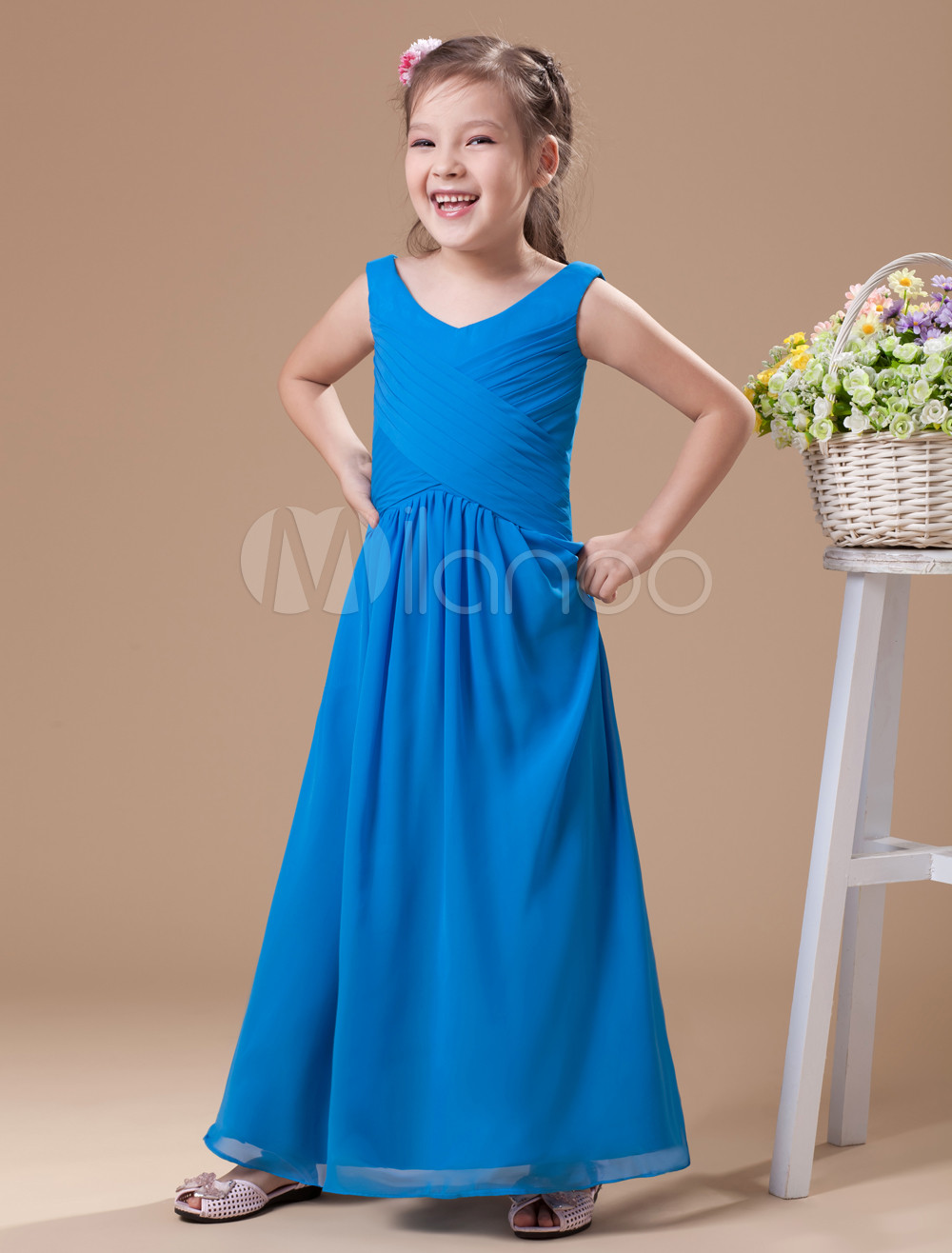 Charming Blue Chiffon Round Collar Floor Length Junior Bridesmaid Dress