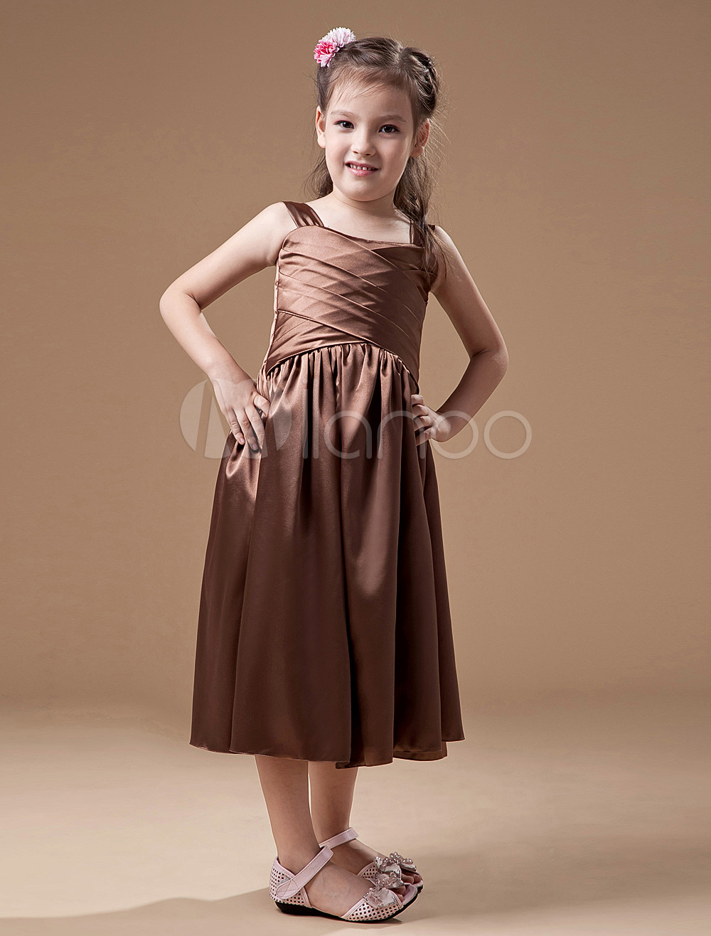 Cute Brown Square Neck Junior Bridesmaid Dress