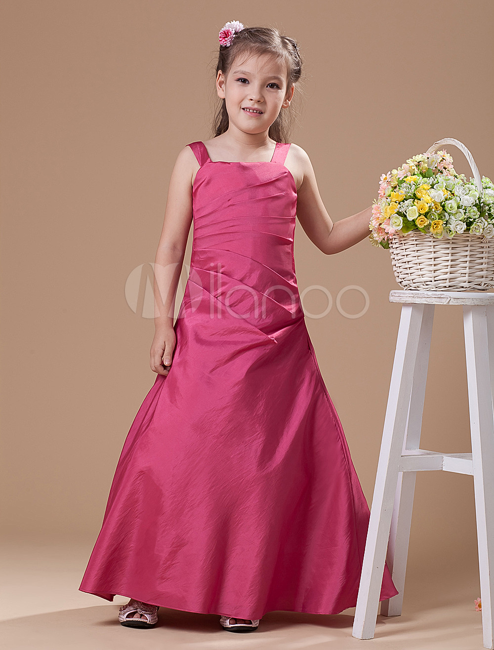 Faddish Rose-red Satin Thin Shoulder Straps Floor Length Junior Bridesmaid Dress