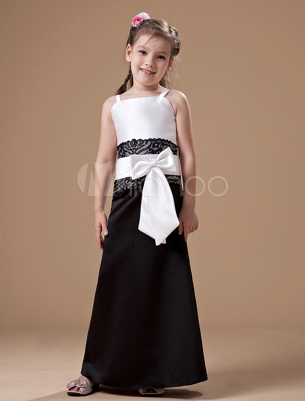 Lovely White Satin Thin Detachable Shoulder Straps Floor Length Junior Bridesmaid Dress