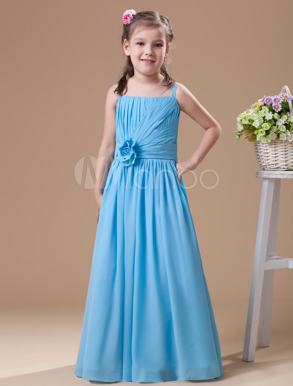 Sweet Blue Chiffon Strapless Floor Length Junior Bridesmaid Dress