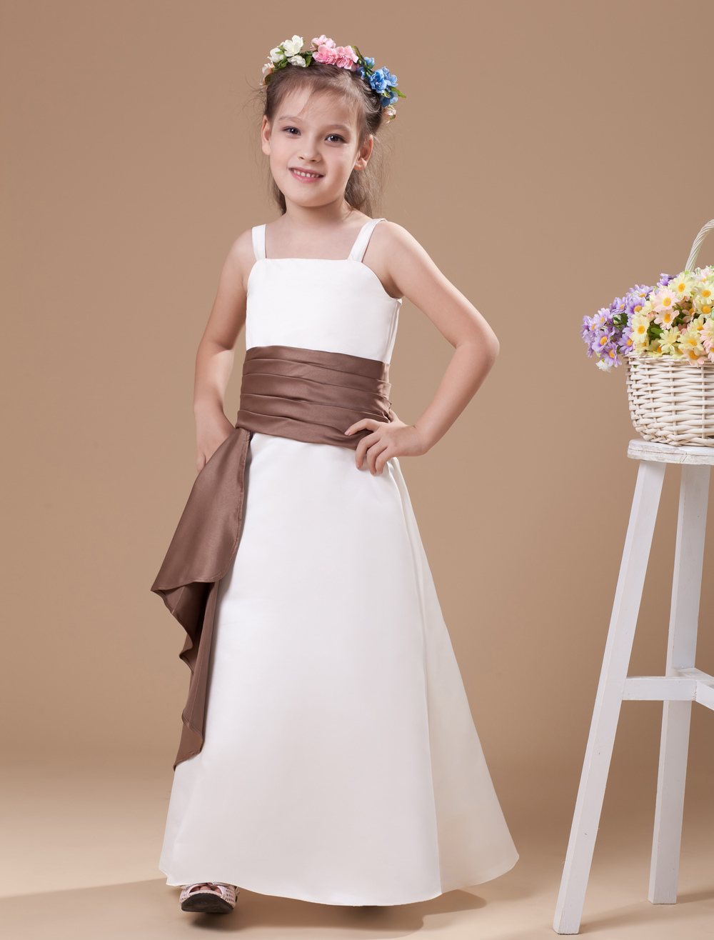 A-line White Satin Junior Bridesmaid Dress with Sash Spaghetti Straps