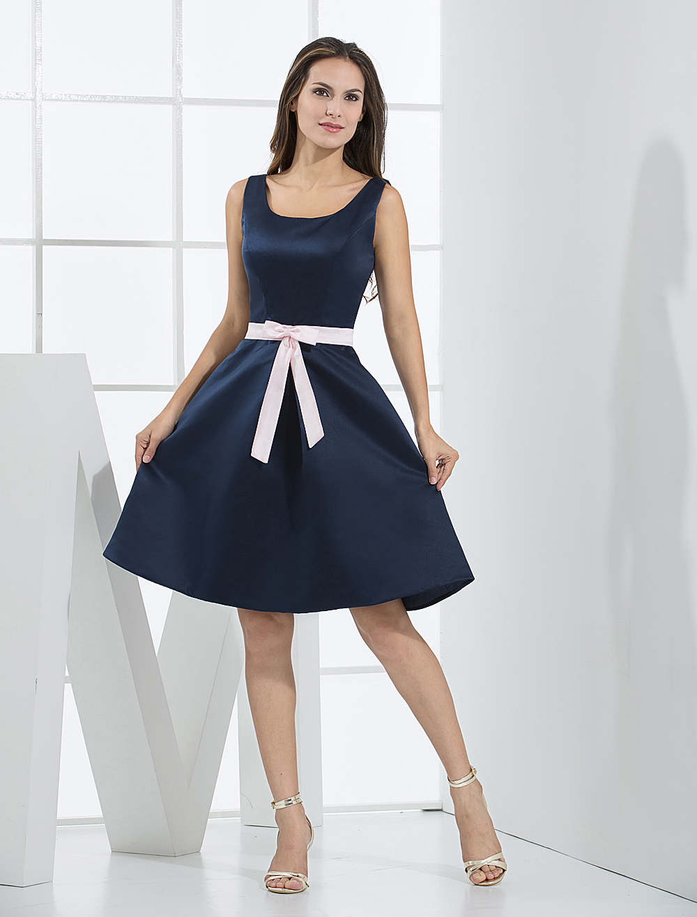 A-line Sash Bow Elastic Satin Bridesmaid Dress