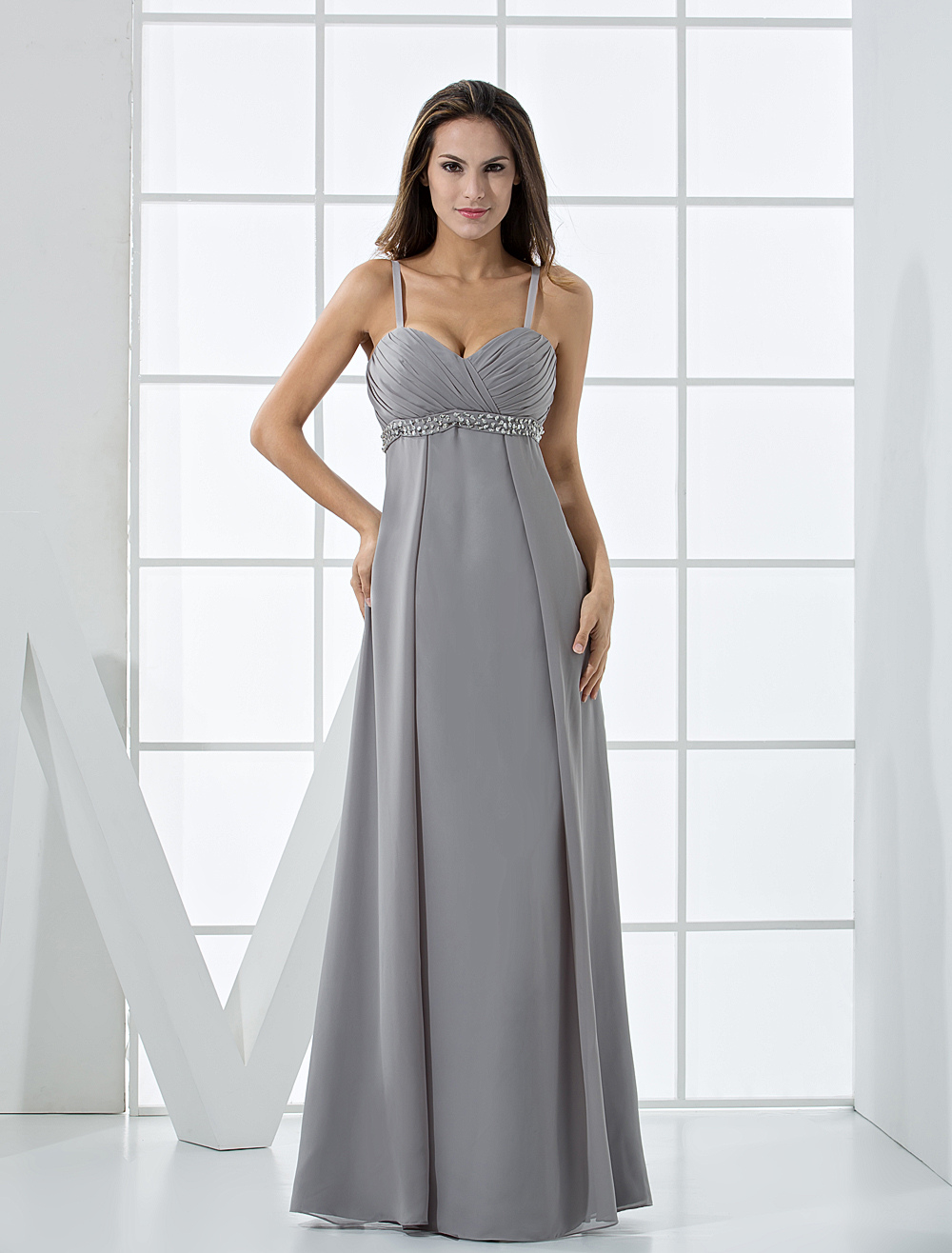 Attractive Silvery Chiffon V-neck Floor Length Maternity Evening Dress