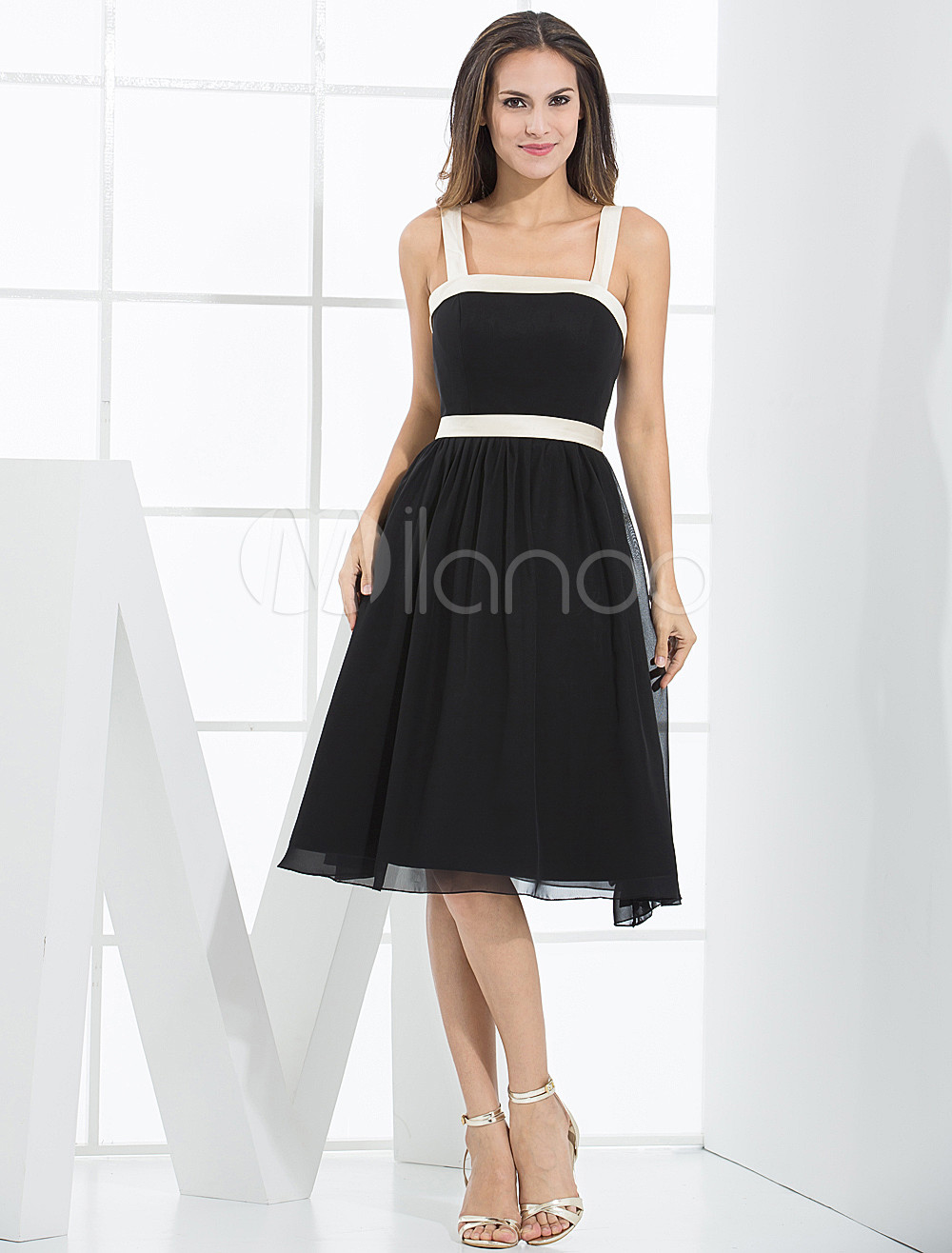 Black Empire Waist A-line Sash Satin Bridesmaid Dress