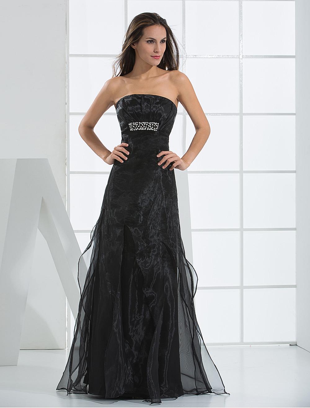 Black Evening Dress Strapless Beaded Lace Up Tulle Satin Dress (Wedding Evening Dresses) photo