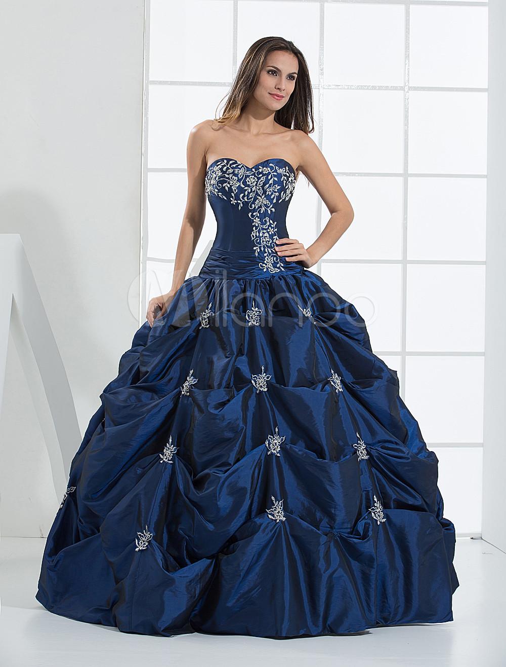 Blue Wedding Dress Satin Beading Vintage Strapless Sweetheart Floor-Length Bridal Gown photo