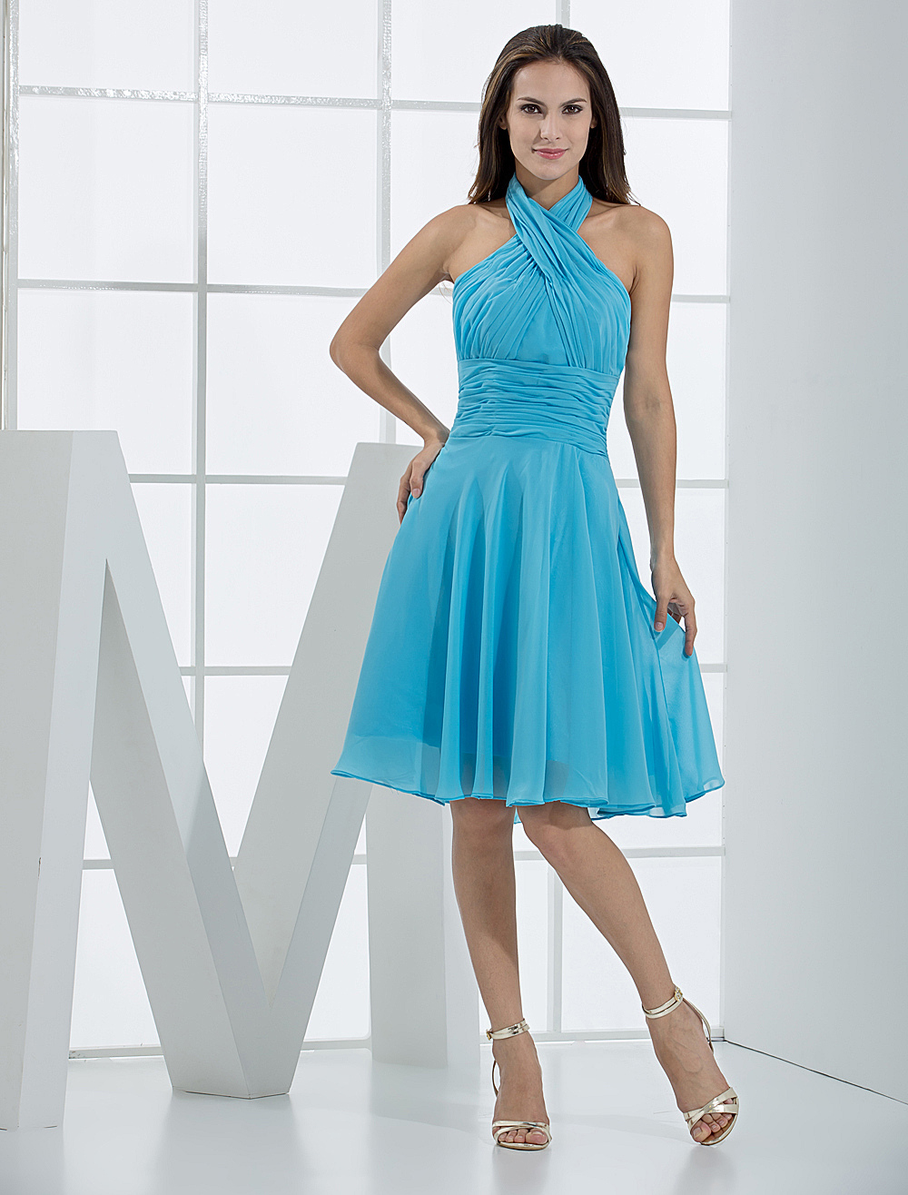 Short Bridesmaid Dress Halter Aqua Ruched A Line Knee Length Prom Dress