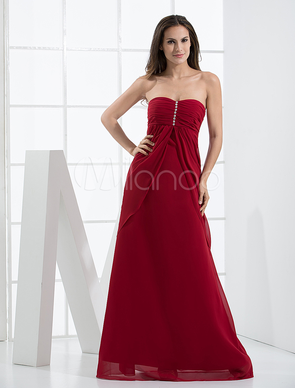 Burgundy Beaded Empire Waist Chiffon Satin Bridesmaid Maxi Dress