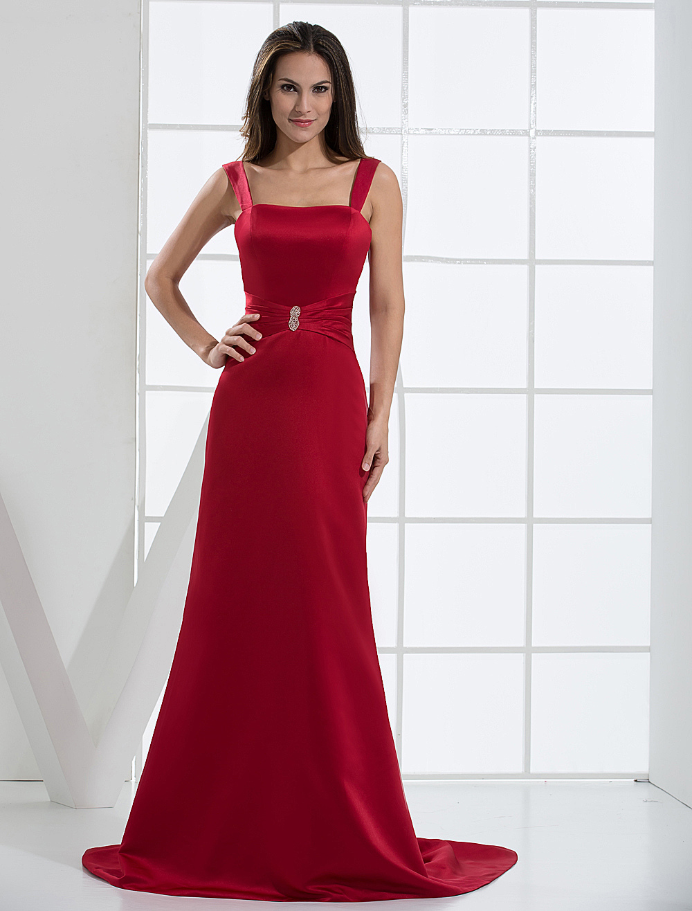 Burgundy Spaghetti Satin Evening Dress