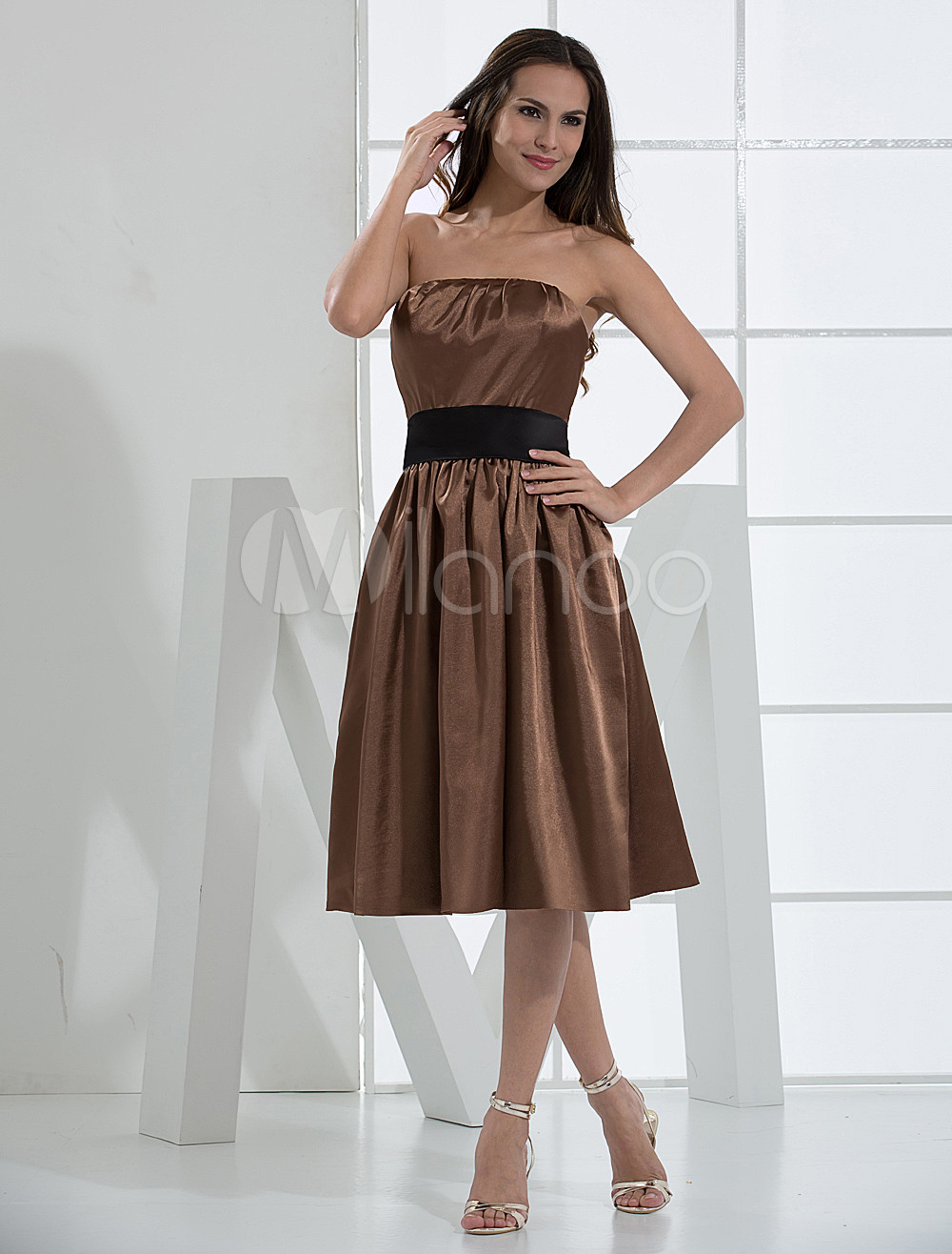 Coffee Strapless Sash Knee Length Pleated Satin Bridesmaid Dress