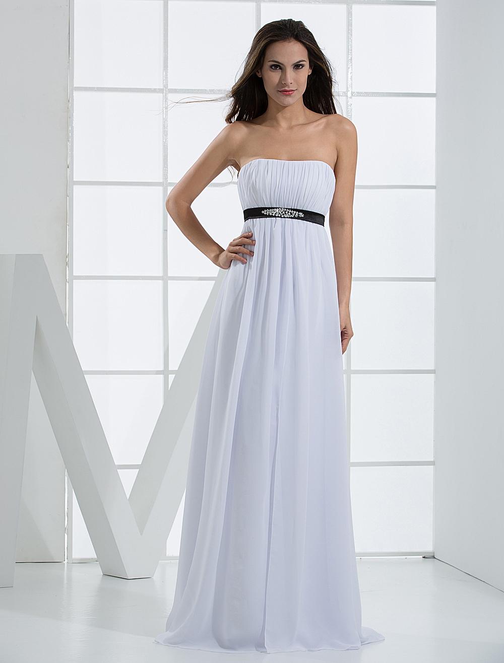 Elegant White Chiffon A-line Black Sash Womens Evening Dress