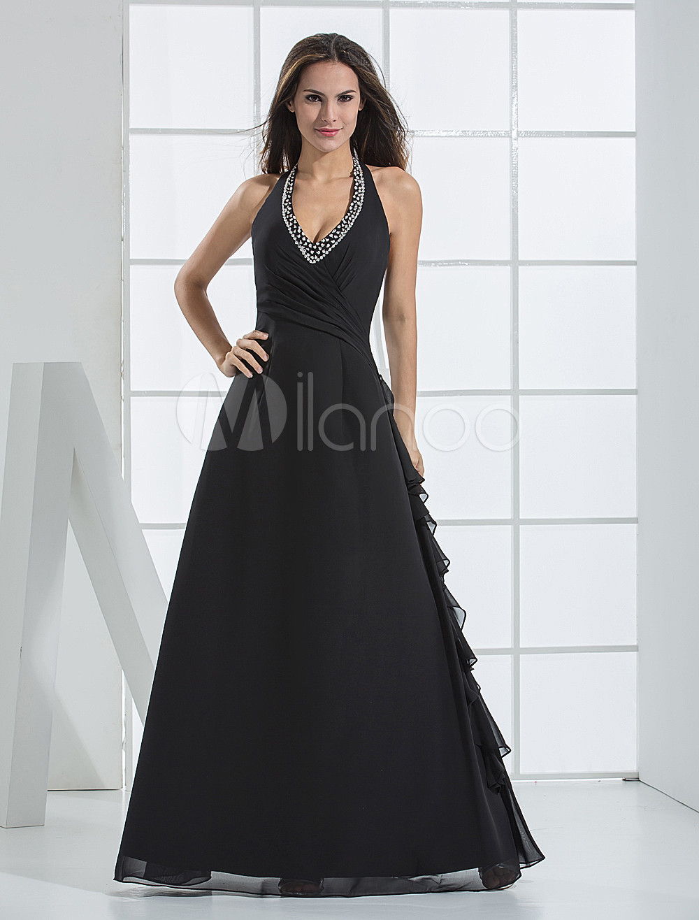 Fabulous A-line V-neck Halter Floor Length Chiffon Bridesmaid Dress