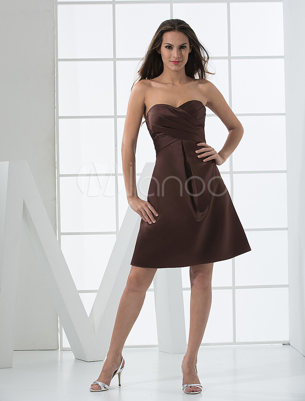 Fabulous Sweetheart Strapless Pleated Satin Bridesmaid Dress