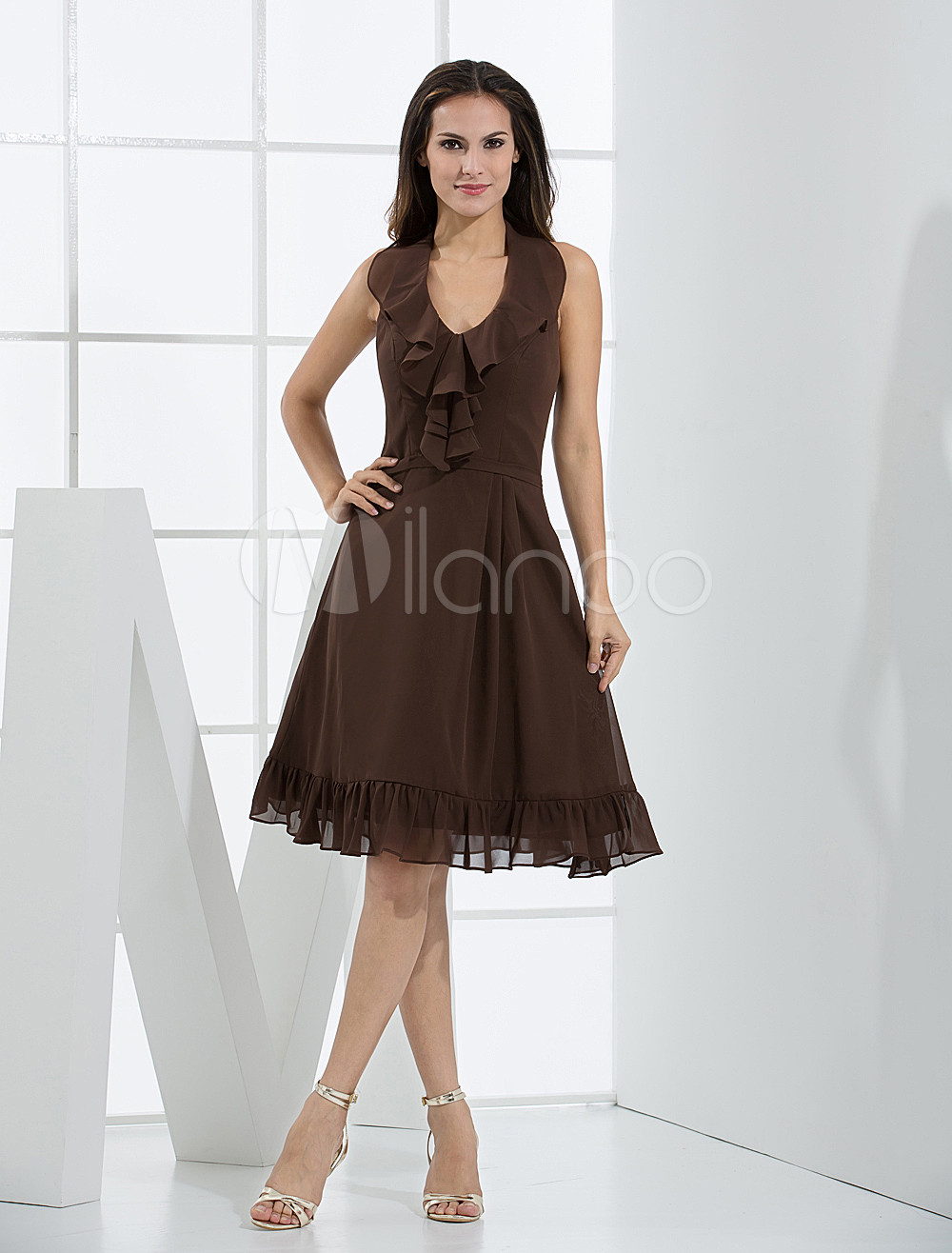 Halter Satin Chiffon Bridesmaid Dress