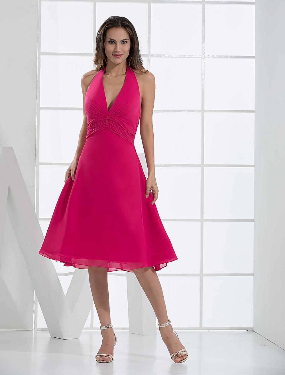 v neck chiffon tea length dress