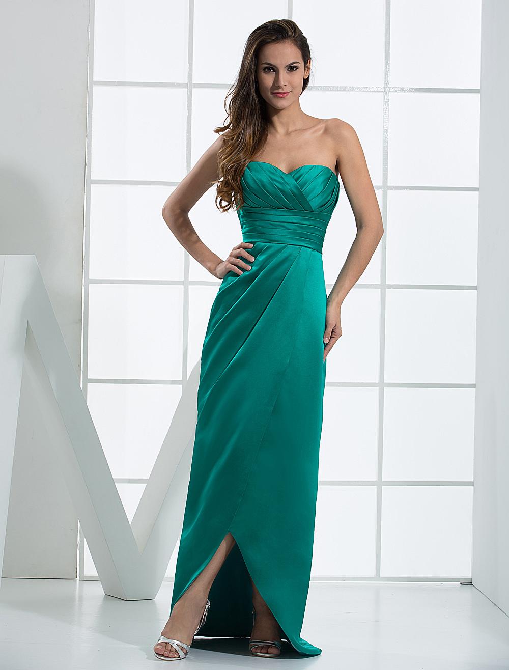Sweetheart Evening Dress Blue Green Strapless Floor Length Satin Prom Dress (Wedding Cheap Party Dress) photo