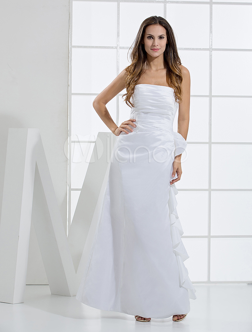Ivory Strapless Taffeta Bridesmaid Maxi Dress