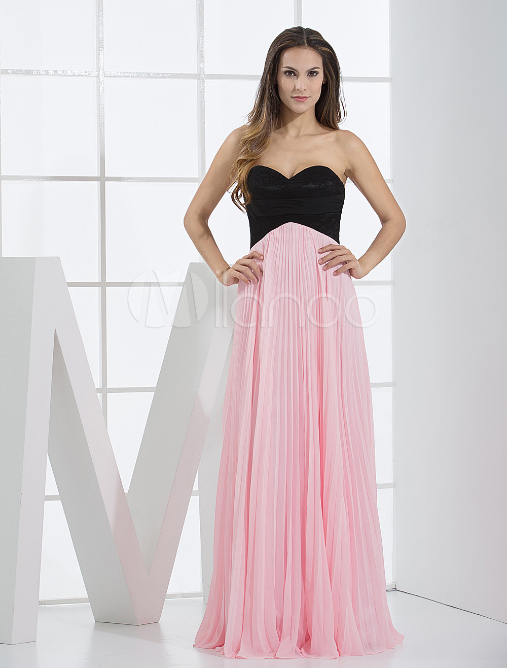 Pink Chiffon Sweetheart Floor Length Ladies Special Occasion Dress (Wedding Prom Dresses) photo