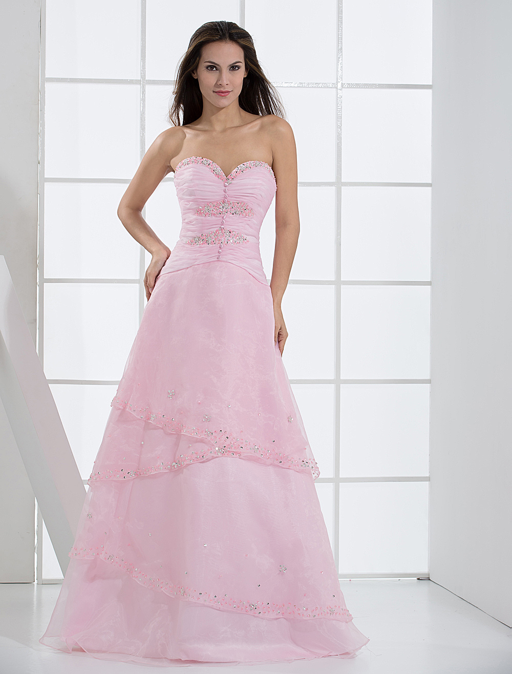 Pink Strapless Satin Organza Prom Dress/Homecoming Dress