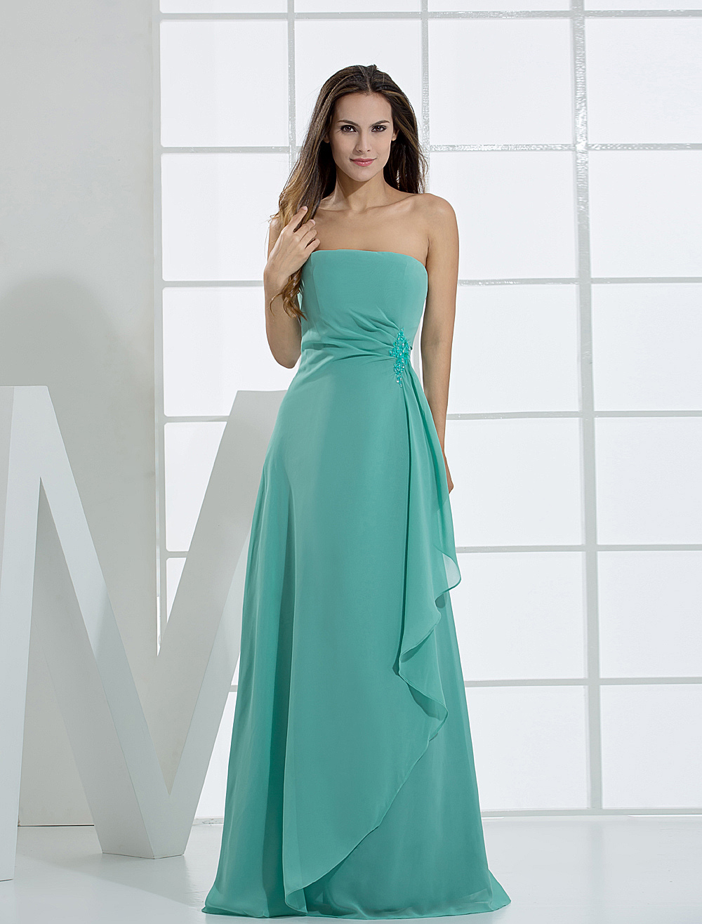 Romantic A-line Strapless Floor Length Chiffon Bridesmaid Dress