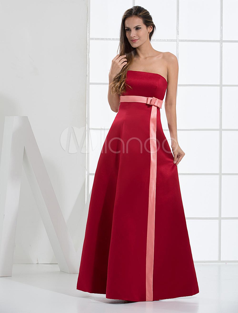 Beautiful Strapless Satin Bridesmaid Dress