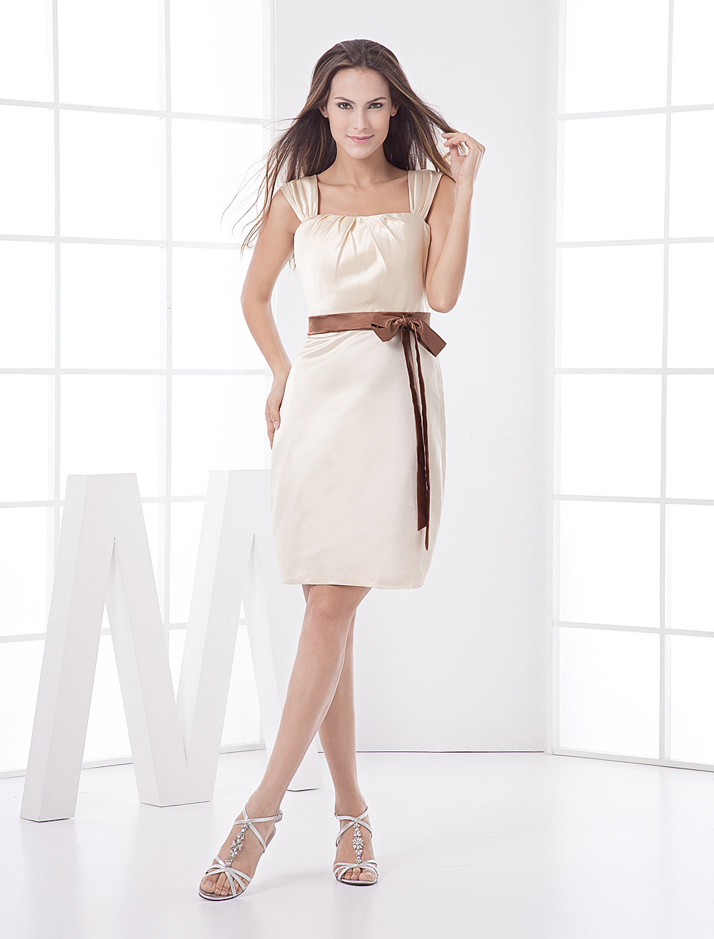 A-line Gold Champagne Sash Satin Bridesmaid Dress