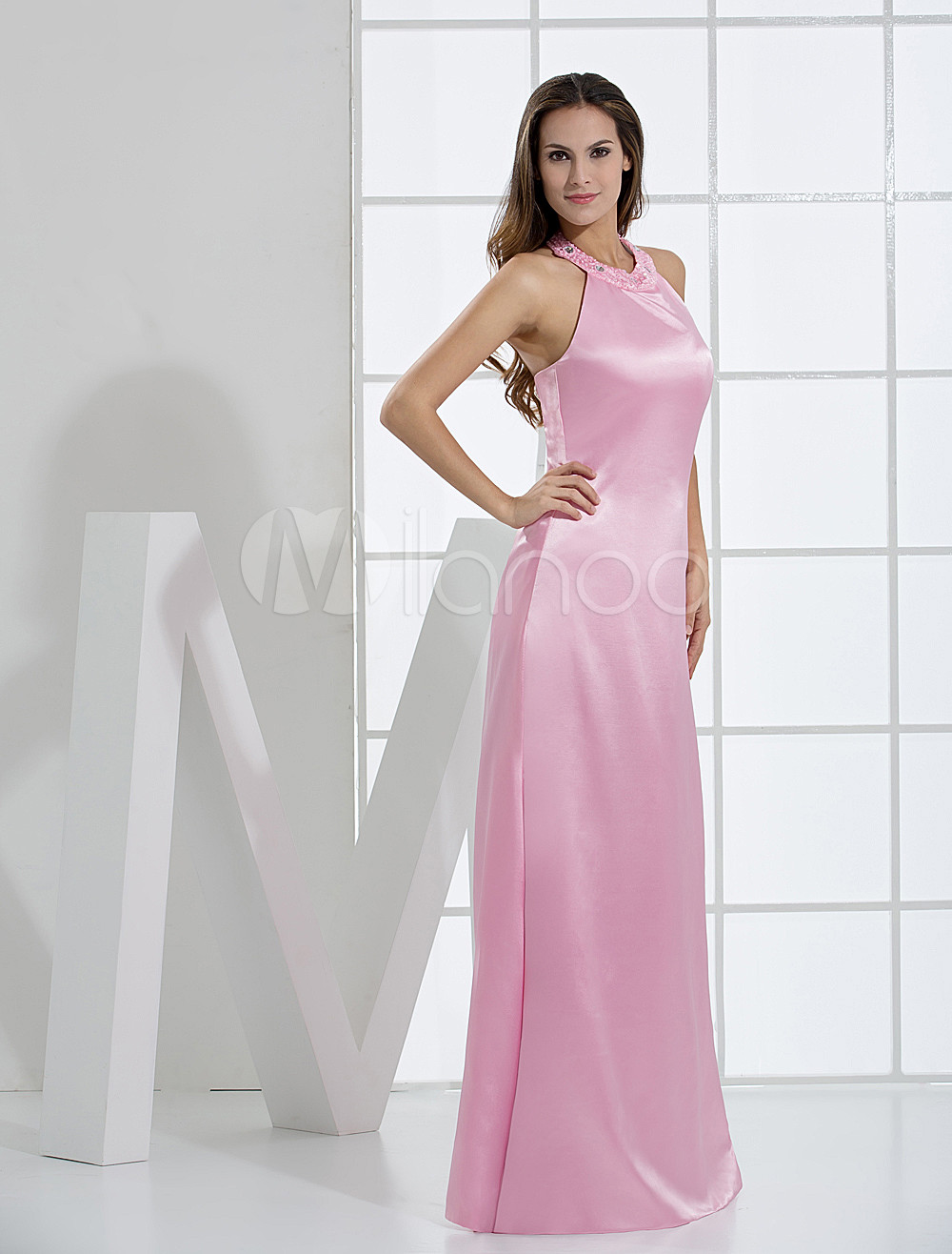 Pink Halter Floor Length A-line Elastic Woven Satin Bridesmaid Dresses