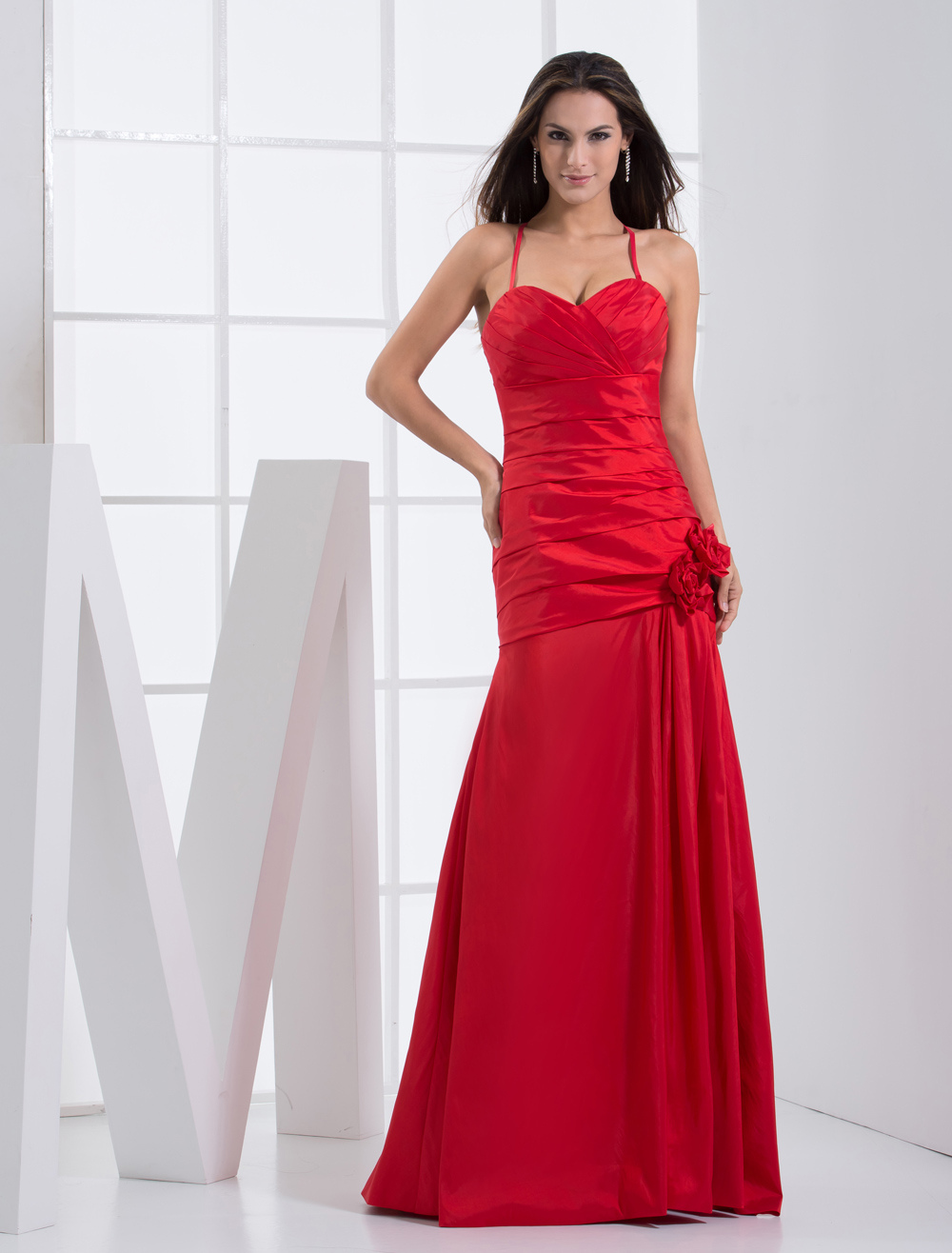A-line Red Satin Floor Length Bridesmaid Dress