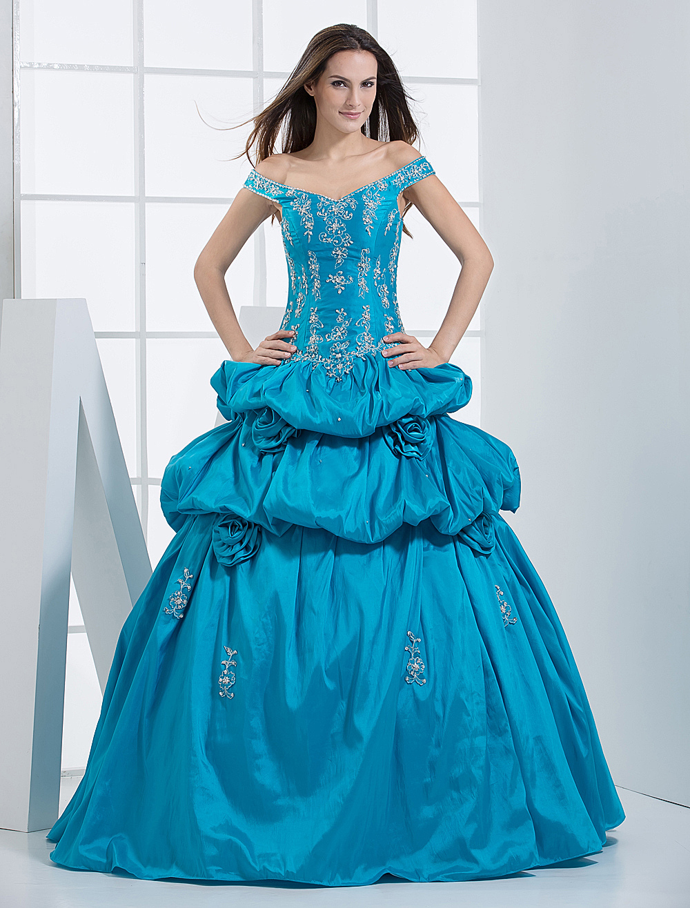 Ball Gown Sweetheart Floor-Length Blue Taffeta Embroidered Quinceanera Dress