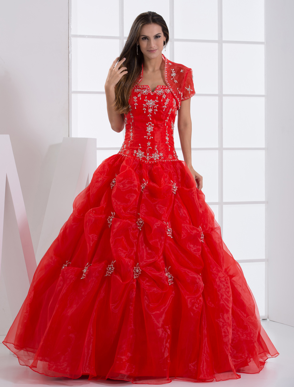 Ball Gown Strapless Beaded Embroidery Organza Satin Ball Gown Dress