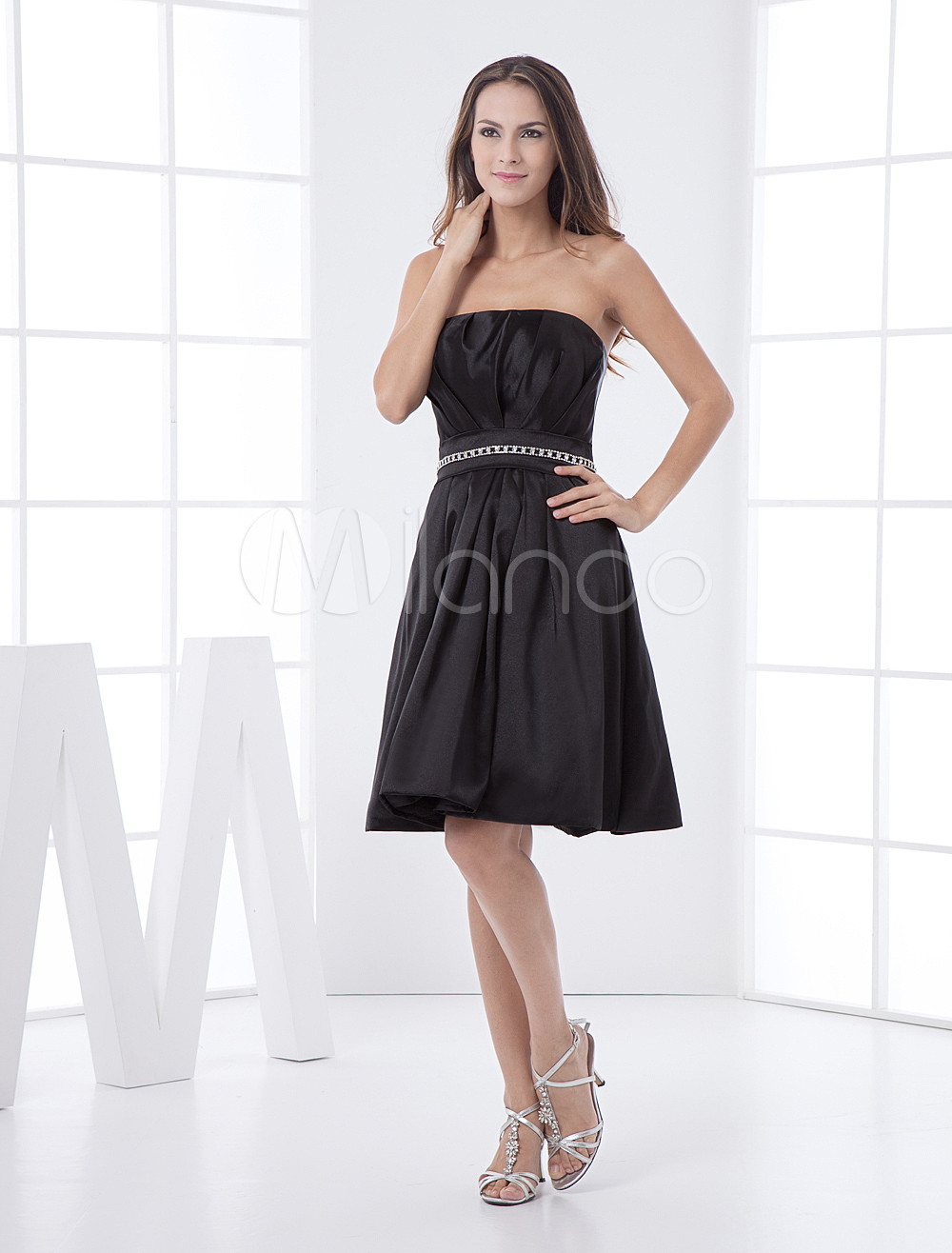 Black A-line Strapless Elastic Woven Satin Bridesmaid Dress