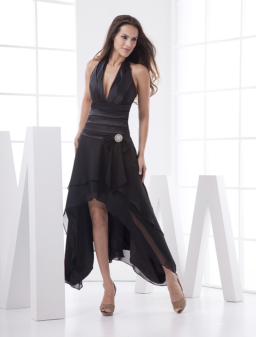 Halter Pleated Cocktail Dress With Hi-Lo Design